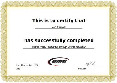 Auto-generated certificate on GMG's Online Induction Portal