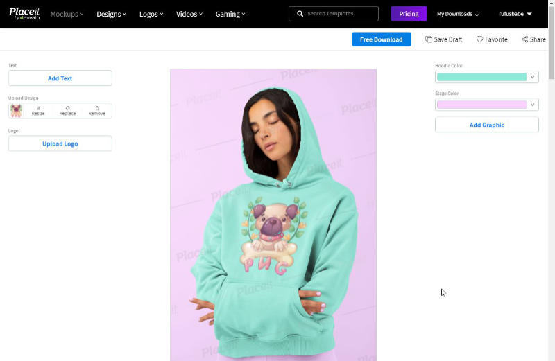 placeit.net example - editing a hoodie mockup - alternative to photoshop