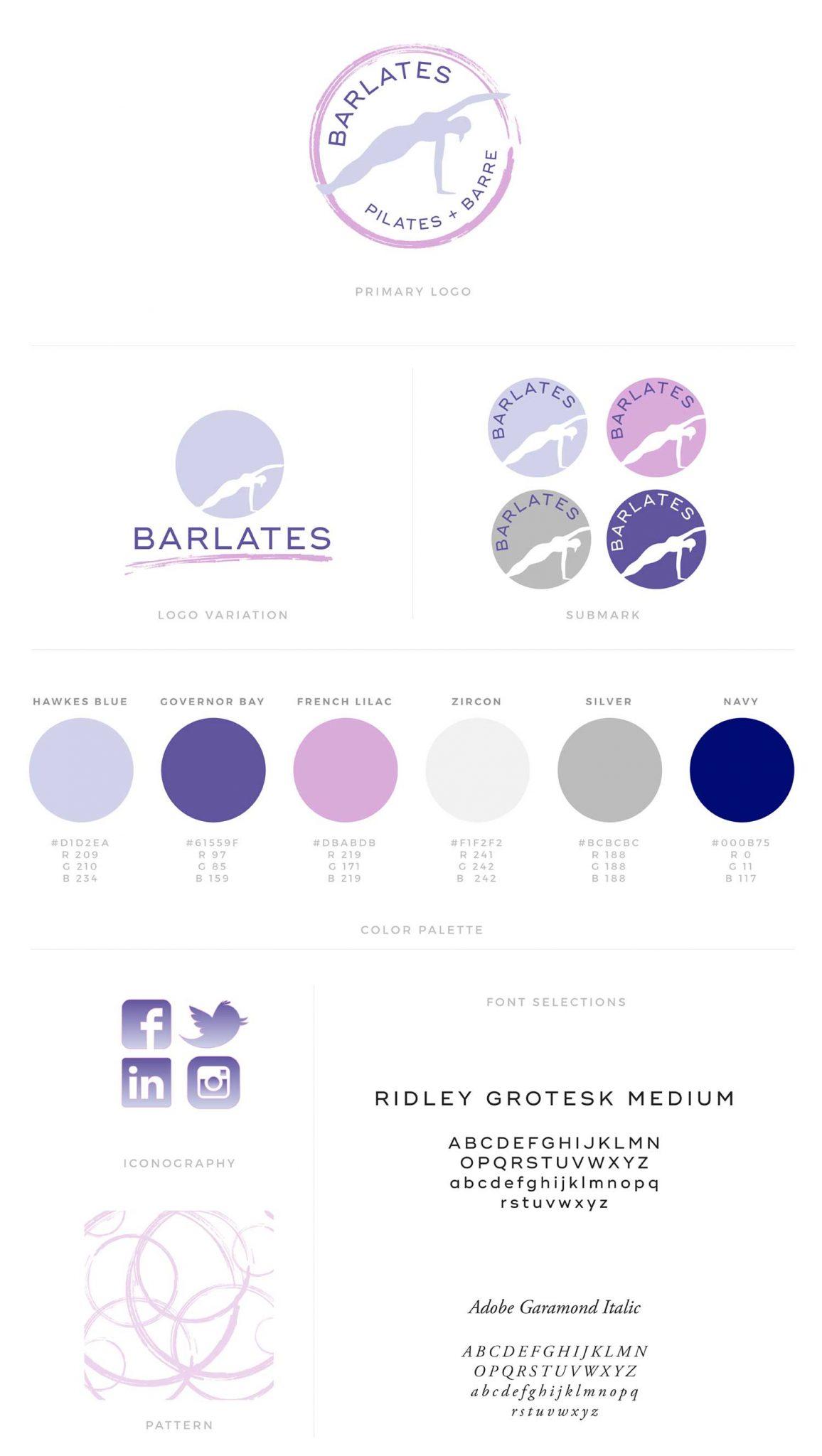 Barlates - Fitness style Logo Design & Brand Board by Jen Mulligan Design