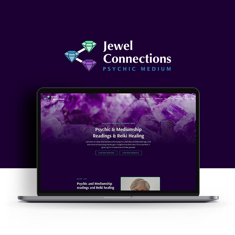 Jewel Connections psychic medium website design by Jen Mulligan Design